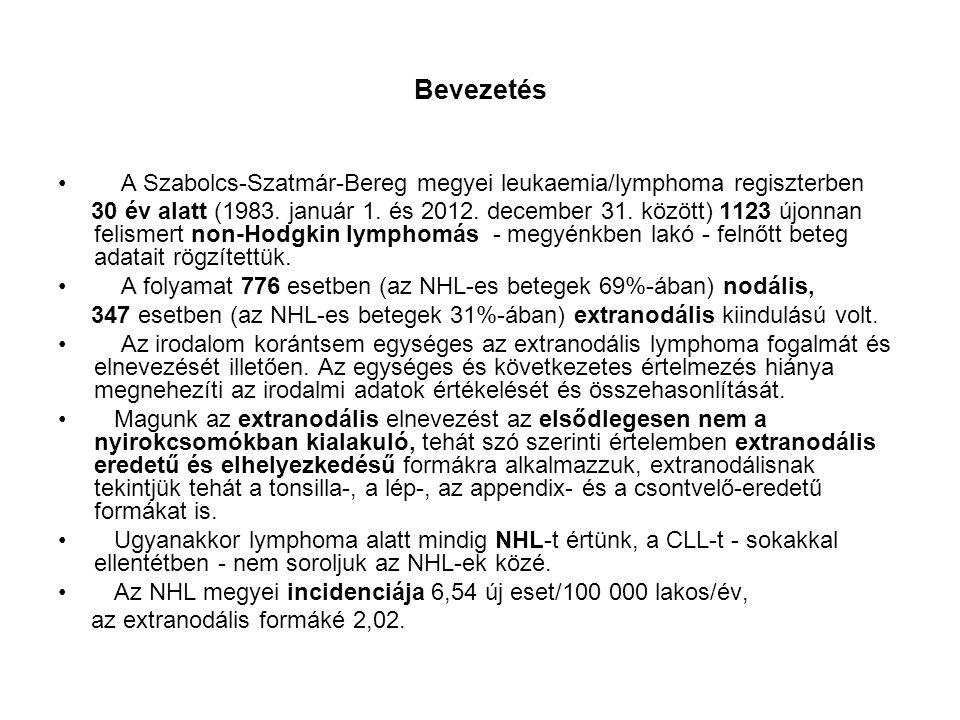 Bevezetés A Szabolcs-Szatmár-Bereg megyei leukaemia/lymphoma regiszterben 30 év alatt (1983. január 1. és 2012. december 31. között) 1123 újonnan feli