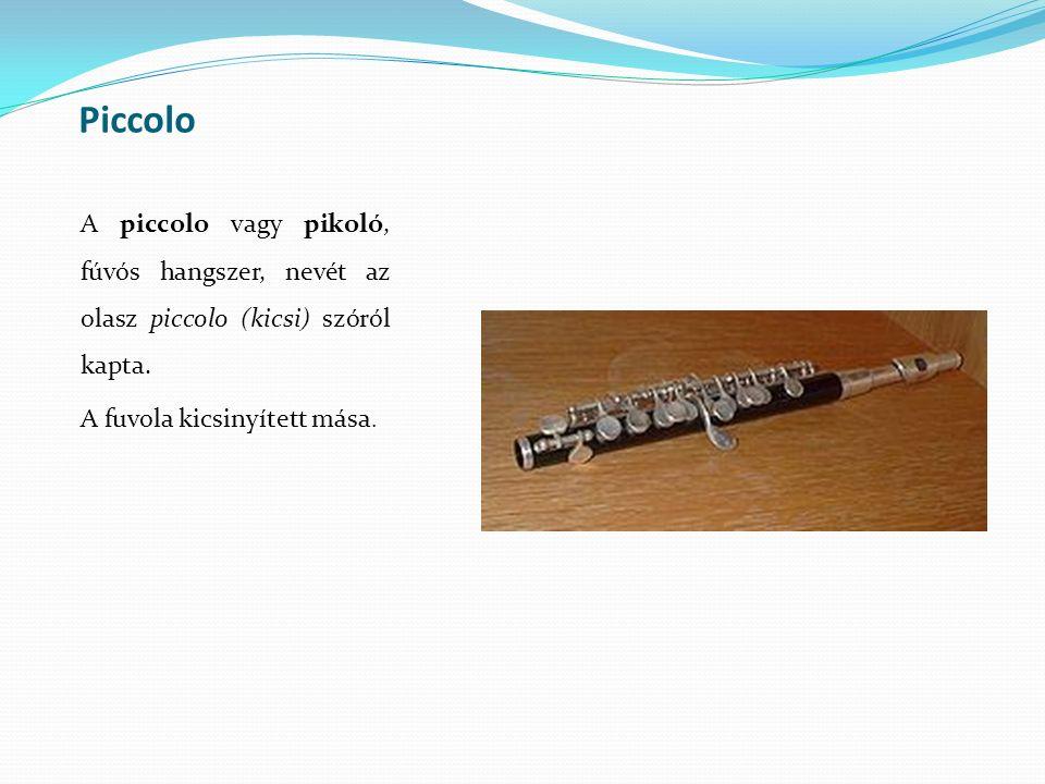 Piccolo A piccolo vagy pikoló, fúvós hangszer, nevét az olasz piccolo (kicsi) szóról kapta. A fuvola kicsinyített mása.