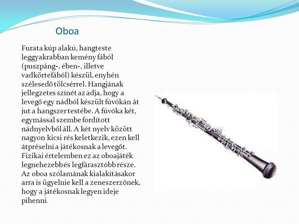 Oboa Furata kúp alakú, hangteste leggyakrabban kemény fából (puszpáng-, ében-, illetve vadkörtefából) készül, enyhén szélesedő tölcsérrel. Hangjának j