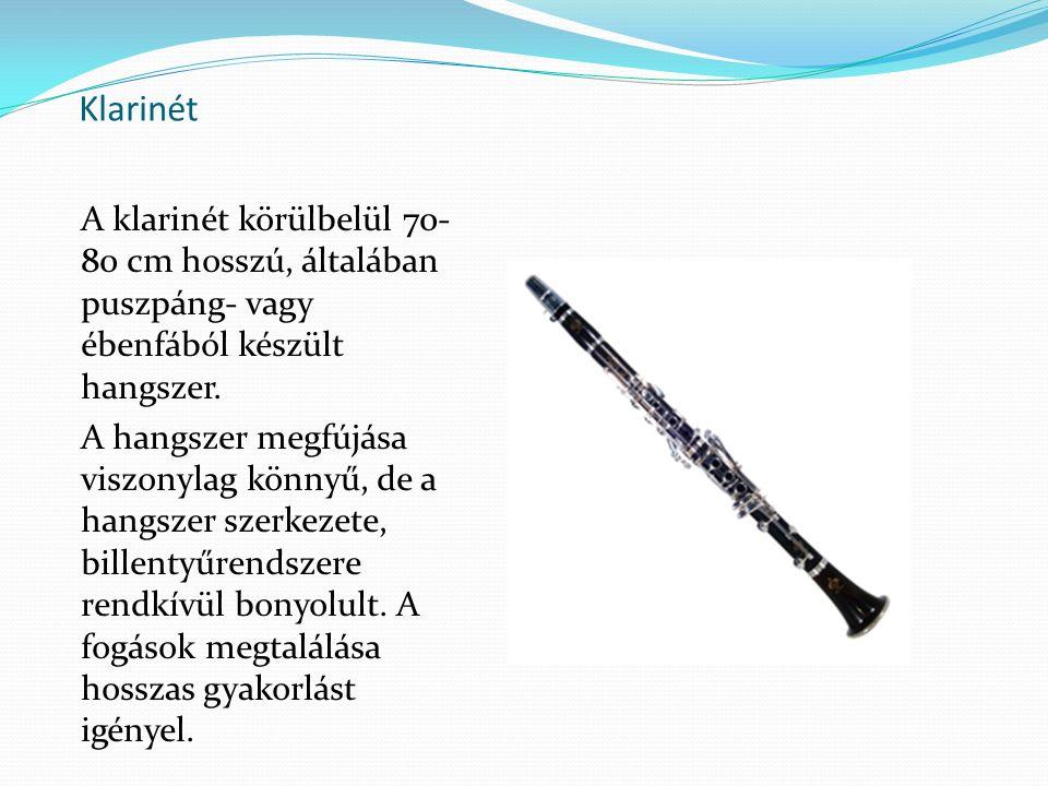 Klarinét A klarinét körülbelül 70- 80 cm hosszú, általában puszpáng- vagy ébenfából készült hangszer. A hangszer megfújása viszonylag könnyű, de a han