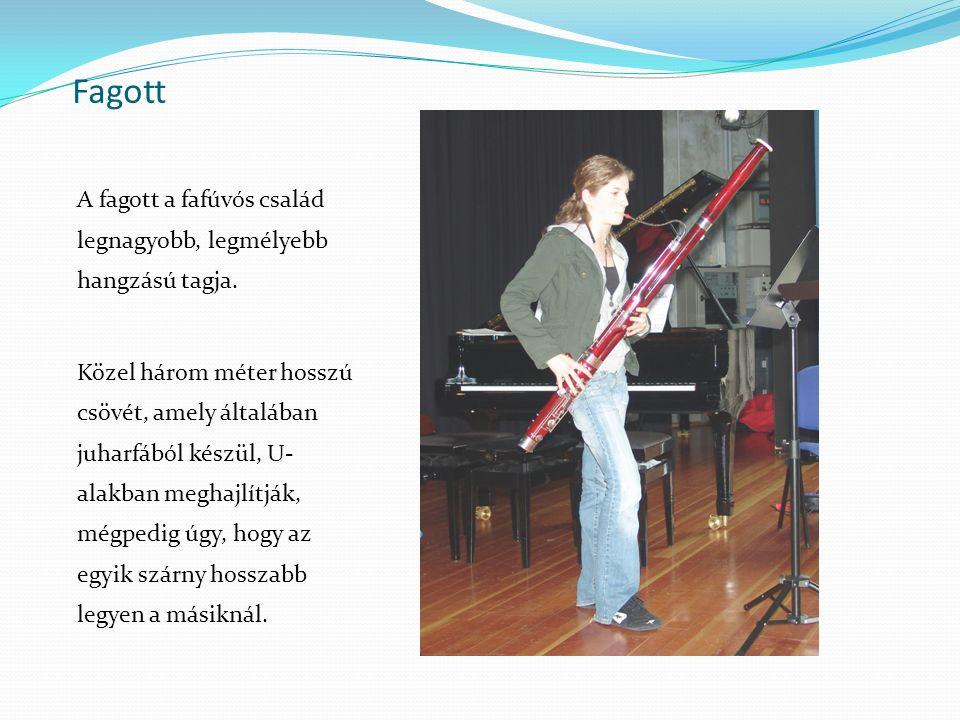 Fagott A fagott a fafúvós család legnagyobb, legmélyebb hangzású tagja. Közel három méter hosszú csövét, amely általában juharfából készül, U- alakban