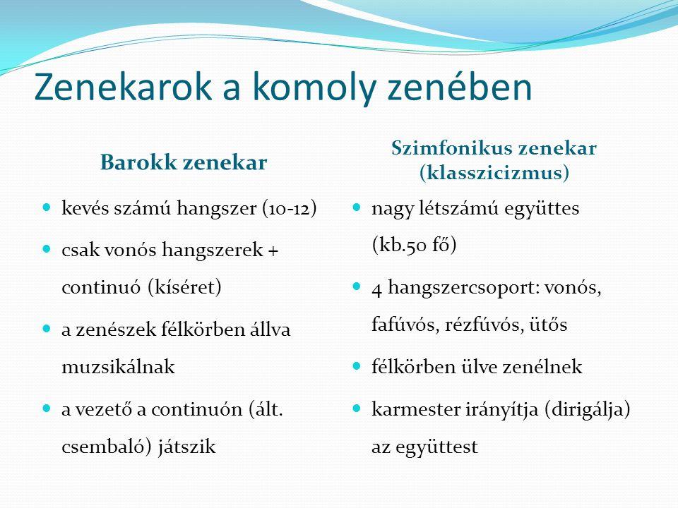 Zenekarok a komoly zenében Barokk zenekar Szimfonikus zenekar (klasszicizmus) kevés számú hangszer (10-12) csak vonós hangszerek + continuó (kíséret)