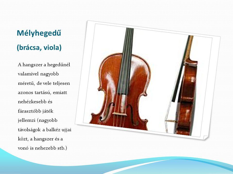 Mélyhegedű (brácsa, viola) A hangszer a hegedűnél valamivel nagyobb méretű, de vele teljesen azonos tartású, emiatt nehézkesebb és fárasztóbb játék je