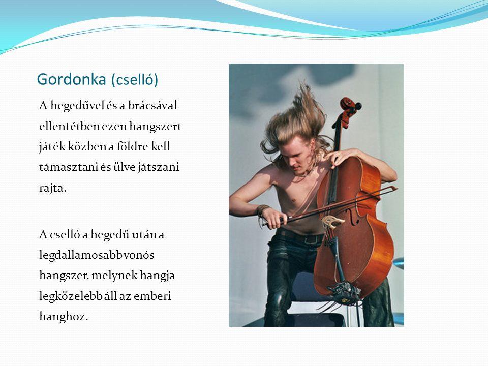 Gordonka (cselló) A hegedűvel és a brácsával ellentétben ezen hangszert játék közben a földre kell támasztani és ülve játszani rajta. A cselló a heged