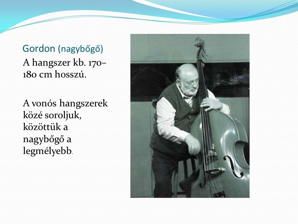 Gordon (nagybőgő) A hangszer kb. 170– 180 cm hosszú. A vonós hangszerek közé soroljuk, közöttük a nagybőgő a legmélyebb.