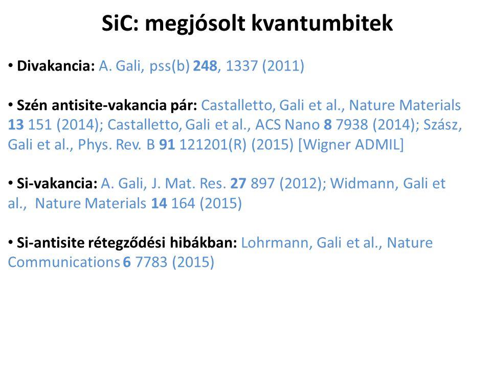 SiC: megjósolt kvantumbitek Divakancia: A. Gali, pss(b) 248, 1337 (2011) Szén antisite-vakancia pár: Castalletto, Gali et al., Nature Materials 13 151