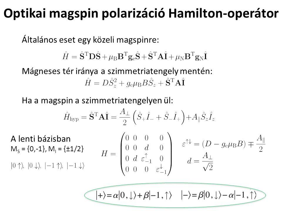Optikai magspin polarizáció Hamilton-operátor Általános eset egy közeli magspinre: Mágneses tér iránya a szimmetriatengely mentén: Ha a magspin a szim