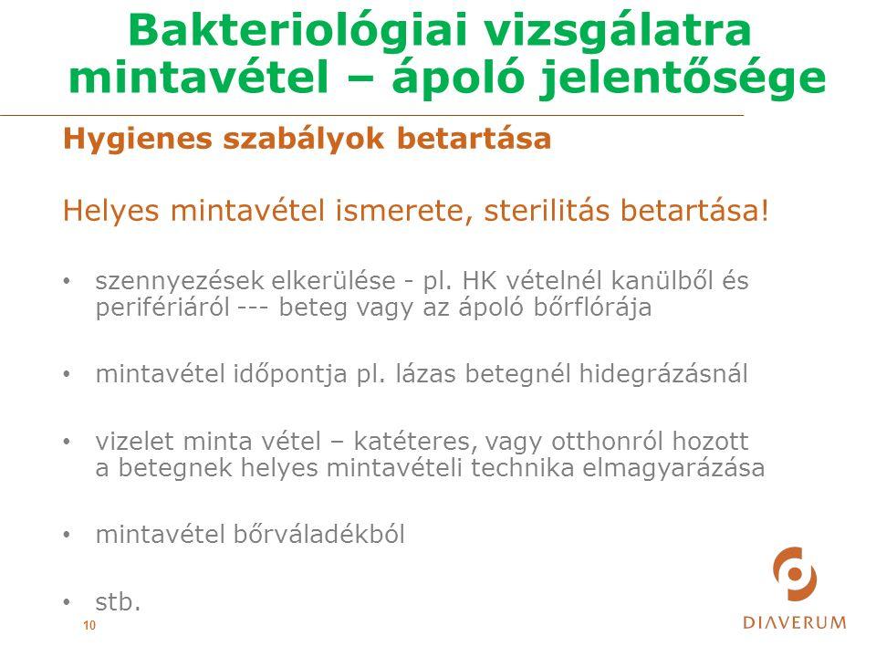 Bakteriológiai vizsgálatra mintavétel – ápoló jelentősége 10 Hygienes szabályok betartása Helyes mintavétel ismerete, sterilitás betartása.