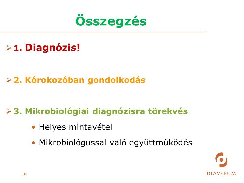 Összegzés 30  1.Diagnózis.  2. Kórokozóban gondolkodás  3.