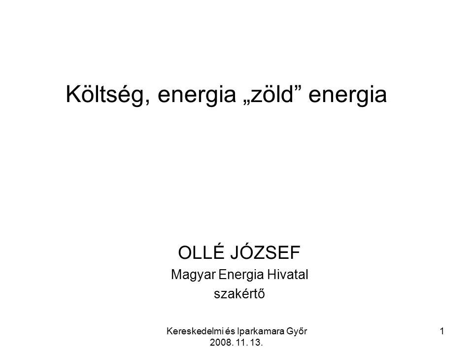 Kereskedelmi és Iparkamara Győr 2008.11. 13. 12 A rendszerhasználati díjak szerkezete 2008.