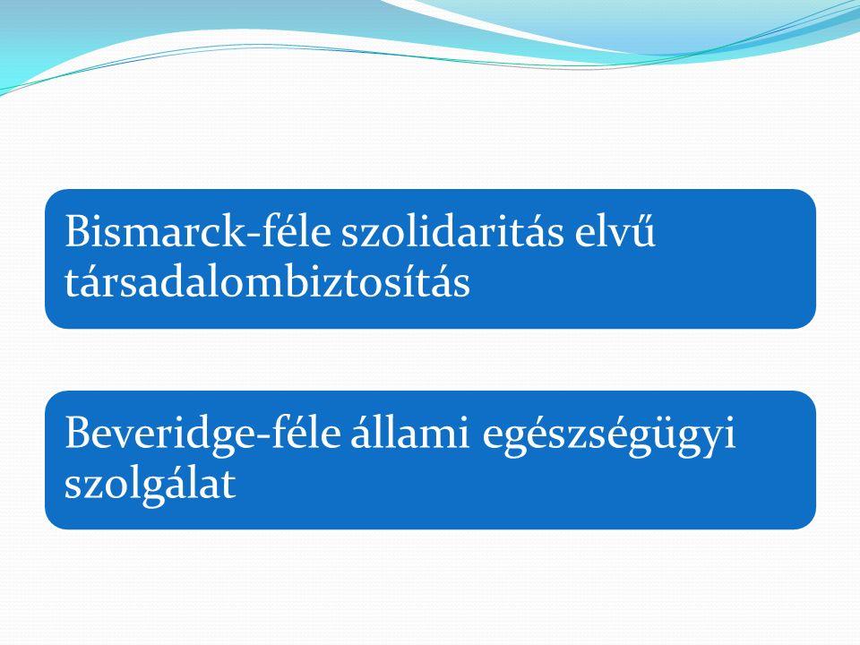 Bismarck-féle szolidaritás elvű társadalombiztosítás Beveridge-féle állami egészségügyi szolgálat
