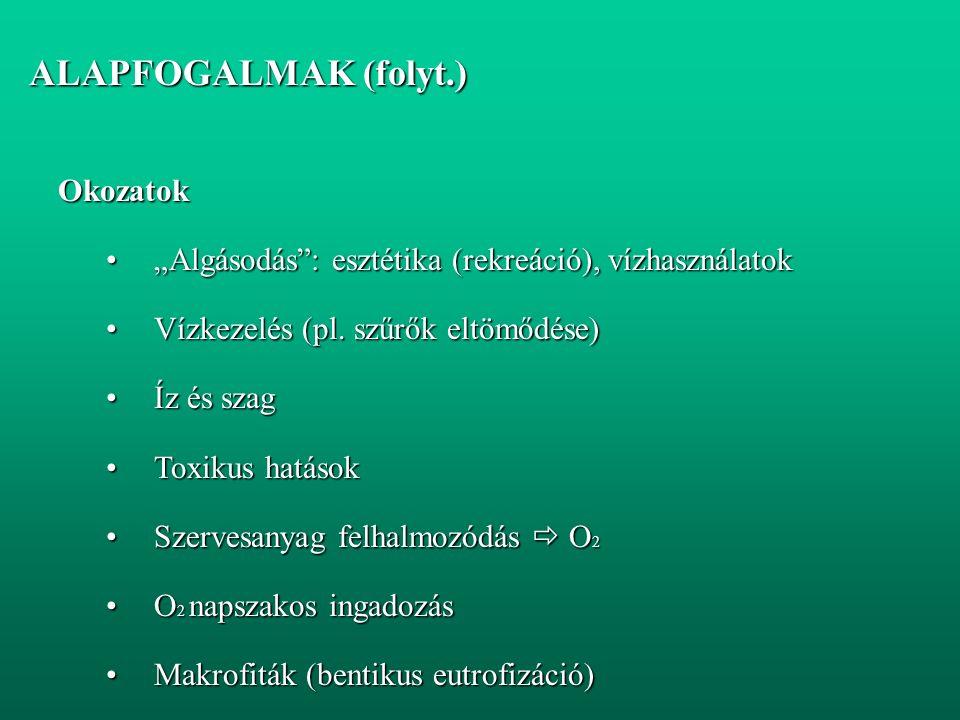 """ALAPFOGALMAK (folyt.) ALAPFOGALMAK (folyt.)Okozatok """"Algásodás : esztétika (rekreáció), vízhasználatok""""Algásodás : esztétika (rekreáció), vízhasználatok Vízkezelés (pl."""