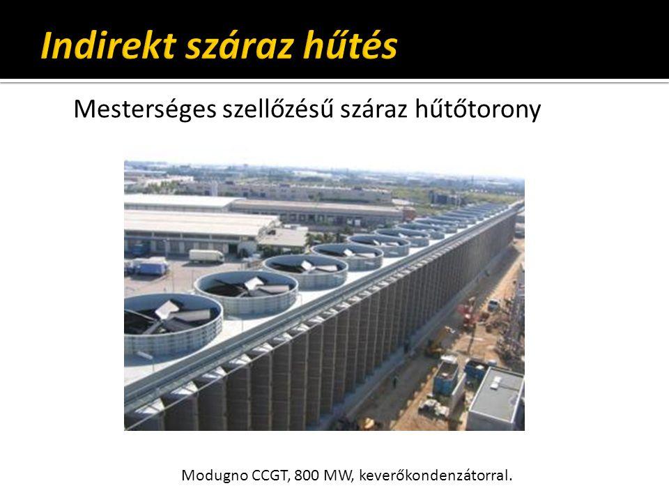 Mesterséges szellőzésű száraz hűtőtorony Modugno CCGT, 800 MW, keverőkondenzátorral.
