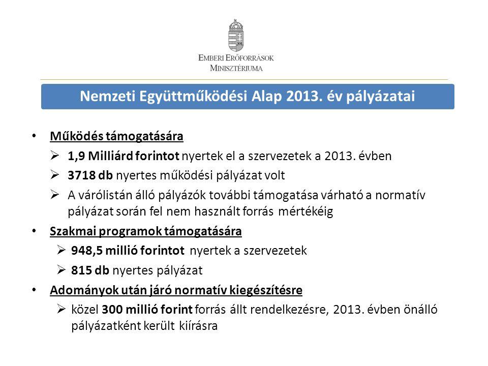 Nemzeti Együttműködési Alap 2013. év pályázatai Működés támogatására  1,9 Milliárd forintot nyertek el a szervezetek a 2013. évben  3718 db nyertes