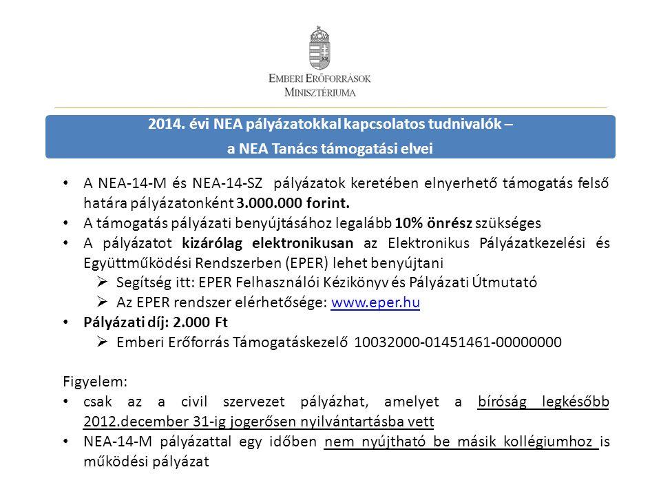 2014. évi NEA pályázatokkal kapcsolatos tudnivalók – a NEA Tanács támogatási elvei A NEA-14-M és NEA-14-SZ pályázatok keretében elnyerhető támogatás f