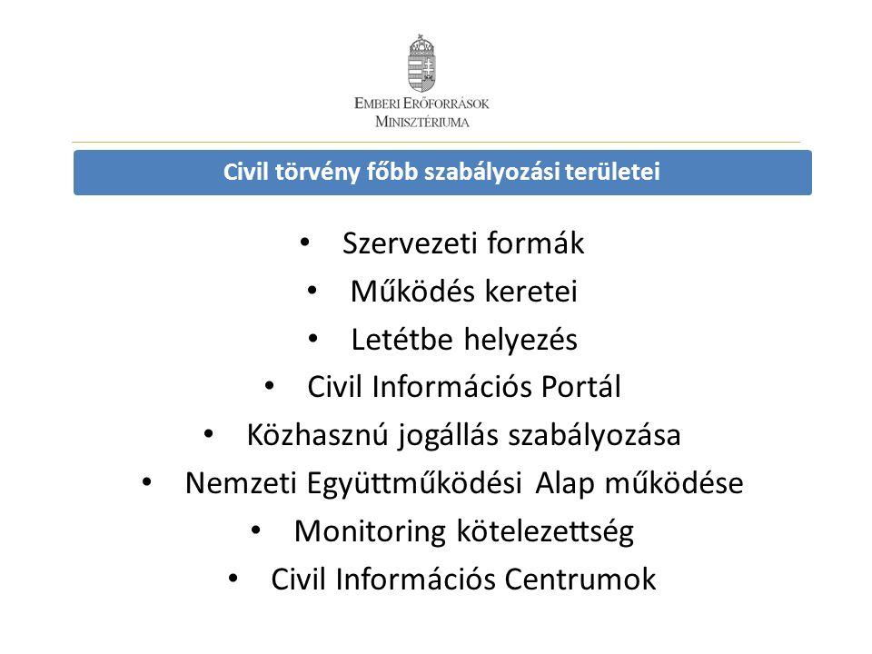 Civil törvény főbb szabályozási területei Szervezeti formák Működés keretei Letétbe helyezés Civil Információs Portál Közhasznú jogállás szabályozása Nemzeti Együttműködési Alap működése Monitoring kötelezettség Civil Információs Centrumok
