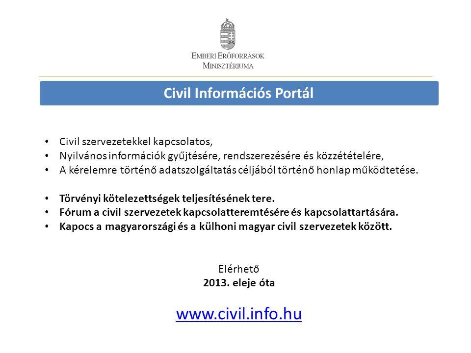 Civil Információs Portál Civil szervezetekkel kapcsolatos, Nyilvános információk gyűjtésére, rendszerezésére és közzétételére, A kérelemre történő adatszolgáltatás céljából történő honlap működtetése.