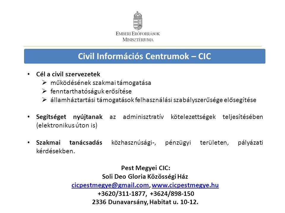 Civil Információs Centrumok – CIC Cél a civil szervezetek  működésének szakmai támogatása  fenntarthatóságuk erősítése  államháztartási támogatások felhasználási szabályszerűsége elősegítése Segítséget nyújtanak az adminisztratív kötelezettségek teljesítésében (elektronikus úton is) Szakmai tanácsadás közhasznúsági-, pénzügyi területen, pályázati kérdésekben.