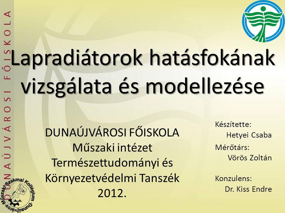 Lapradiátorok hatásfokának vizsgálata és modellezése Készítette: Hetyei Csaba Mérőtárs: Vörös Zoltán Konzulens: Dr. Kiss Endre DUNAÚJVÁROSI FŐISKOLA M