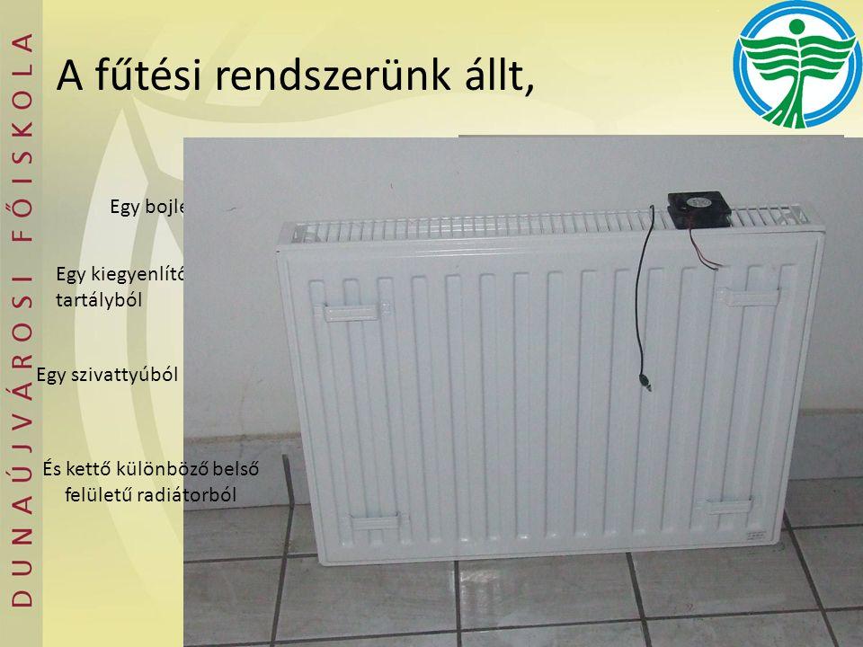 A fűtési rendszerünk állt, Egy bojlerből Egy kiegyenlítő tartályból Egy szivattyúból És kettő különböző belső felületű radiátorból