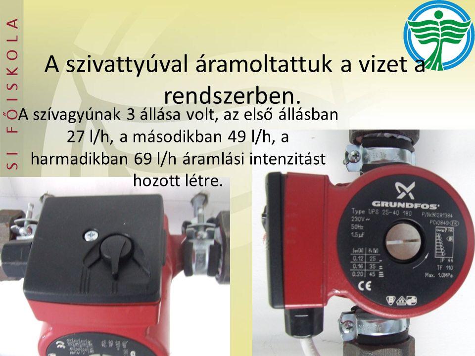 A szivattyúval áramoltattuk a vizet a rendszerben. A szívagyúnak 3 állása volt, az első állásban 27 l/h, a másodikban 49 l/h, a harmadikban 69 l/h ára