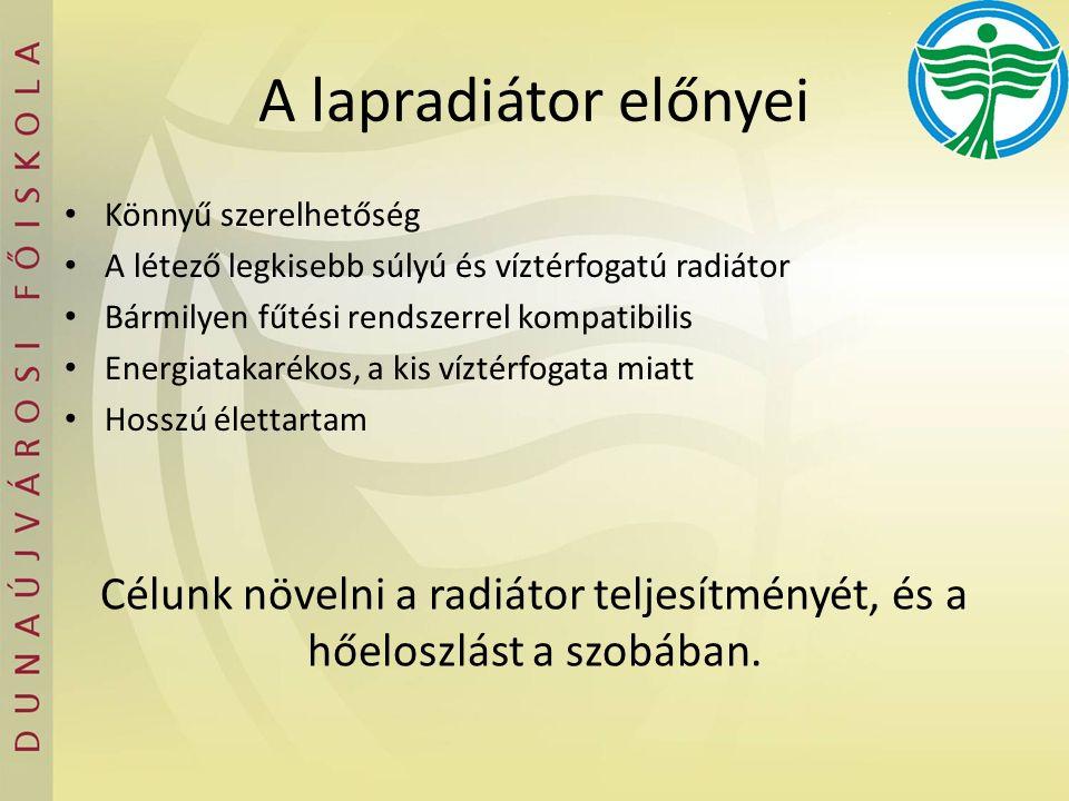A lapradiátor előnyei Könnyű szerelhetőség A létező legkisebb súlyú és víztérfogatú radiátor Bármilyen fűtési rendszerrel kompatibilis Energiatakaréko