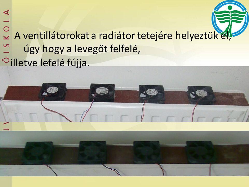 A ventillátorokat a radiátor tetejére helyeztük el, úgy hogy a levegőt felfelé, illetve lefelé fújja.
