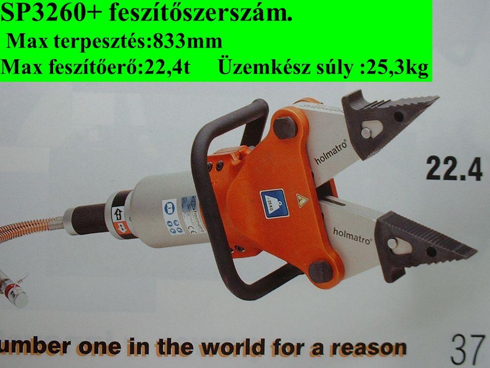 SP3260+ feszítőszerszám. Max terpesztés:833mm Max feszítőerő:22,4t Üzemkész súly :25,3kg