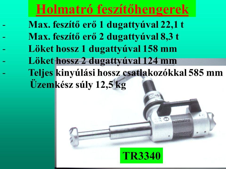 Holmatró feszítőhengerek - Max.feszítő erő 1 dugattyúval 22,1 t - Max.