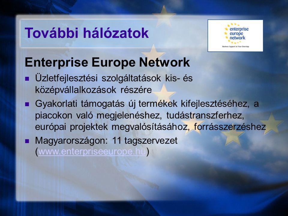 További hálózatok Enterprise Europe Network Üzletfejlesztési szolgáltatások kis- és középvállalkozások részére Gyakorlati támogatás új termékek kifejl