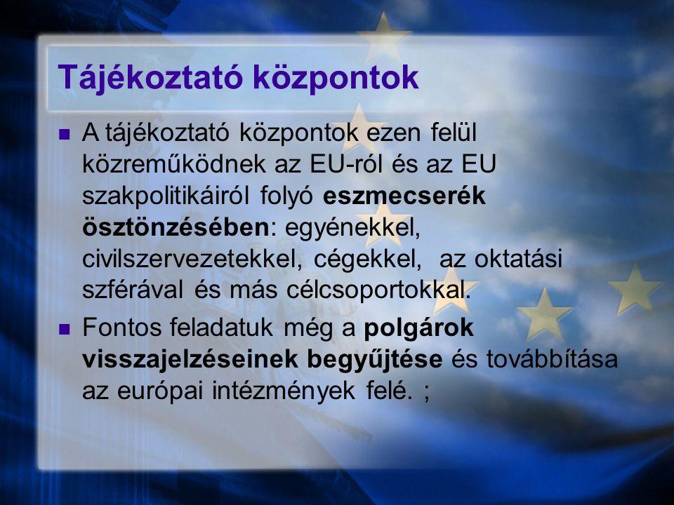 Tájékoztató központok A tájékoztató központok ezen felül közreműködnek az EU-ról és az EU szakpolitikáiról folyó eszmecserék ösztönzésében: egyénekkel, civilszervezetekkel, cégekkel, az oktatási szférával és más célcsoportokkal.