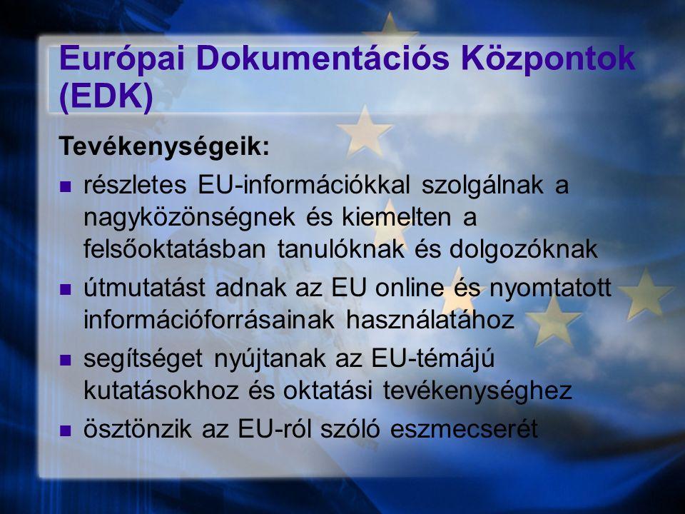 Európai Dokumentációs Központok (EDK) Tevékenységeik: részletes EU-információkkal szolgálnak a nagyközönségnek és kiemelten a felsőoktatásban tanulóknak és dolgozóknak útmutatást adnak az EU online és nyomtatott információforrásainak használatához segítséget nyújtanak az EU-témájú kutatásokhoz és oktatási tevékenységhez ösztönzik az EU-ról szóló eszmecserét