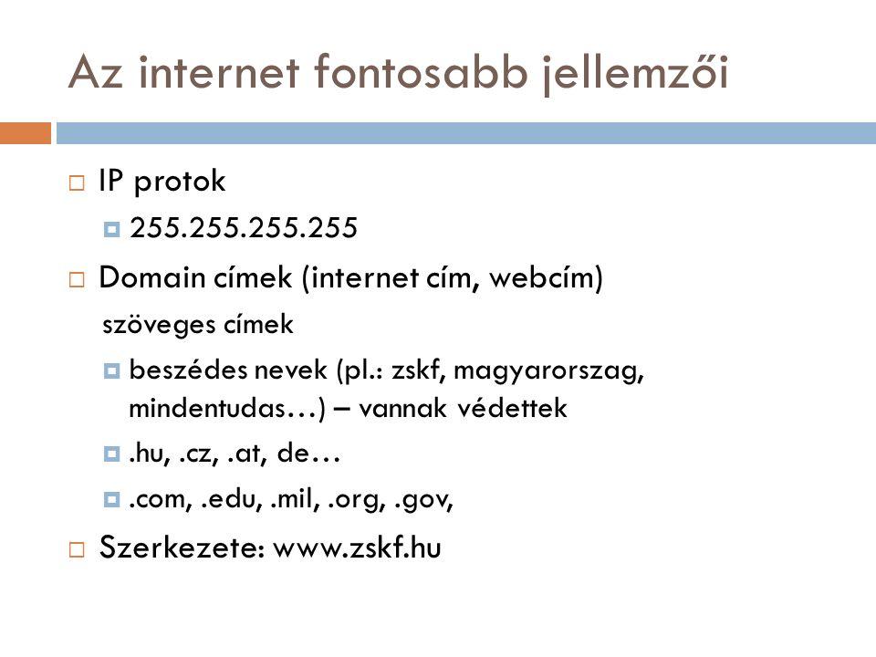Az internet fontosabb jellemzői  IP protok  255.255.255.255  Domain címek (internet cím, webcím) szöveges címek  beszédes nevek (pl.: zskf, magyarorszag, mindentudas…) – vannak védettek .hu,.cz,.at, de… .com,.edu,.mil,.org,.gov,  Szerkezete: www.zskf.hu