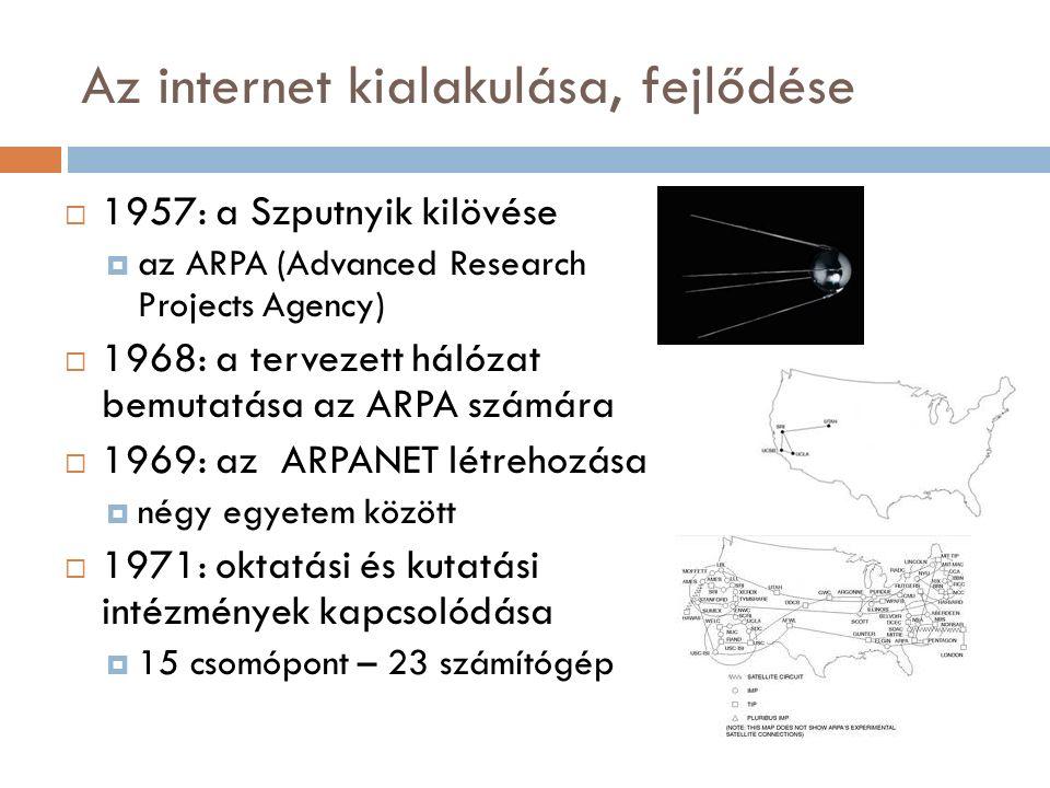Az internet kialakulása, fejlődése  1957: a Szputnyik kilövése  az ARPA (Advanced Research Projects Agency)  1968: a tervezett hálózat bemutatása az ARPA számára  1969: az ARPANET létrehozása  négy egyetem között  1971: oktatási és kutatási intézmények kapcsolódása  15 csomópont – 23 számítógép