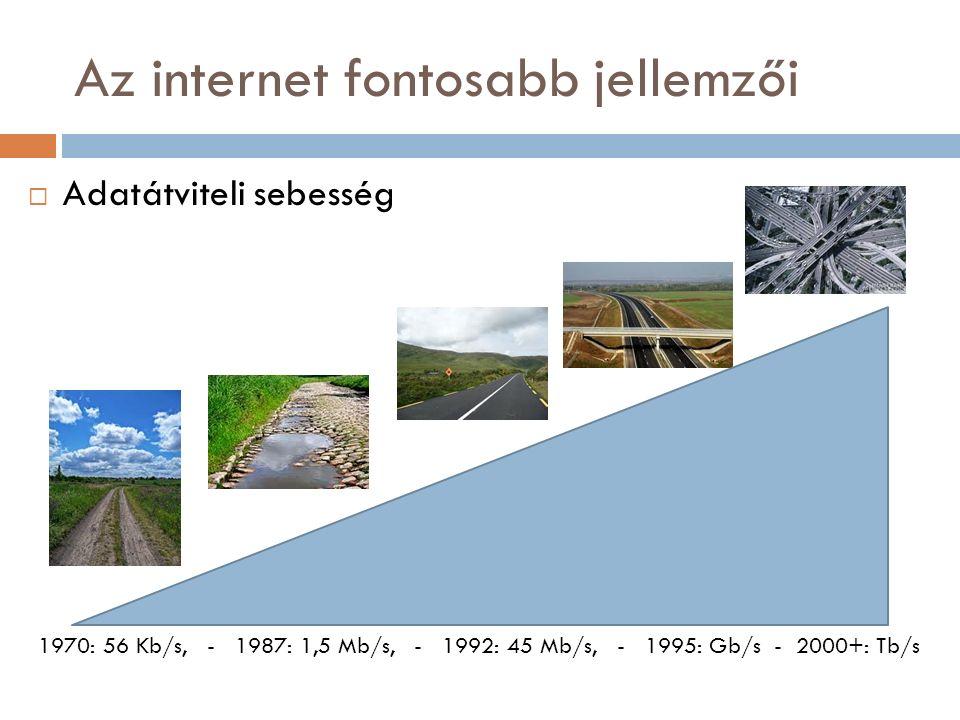 Az internet fontosabb jellemzői  Adatátviteli sebesség 1970: 56 Kb/s, - 1987: 1,5 Mb/s, - 1992: 45 Mb/s, - 1995: Gb/s - 2000+: Tb/s