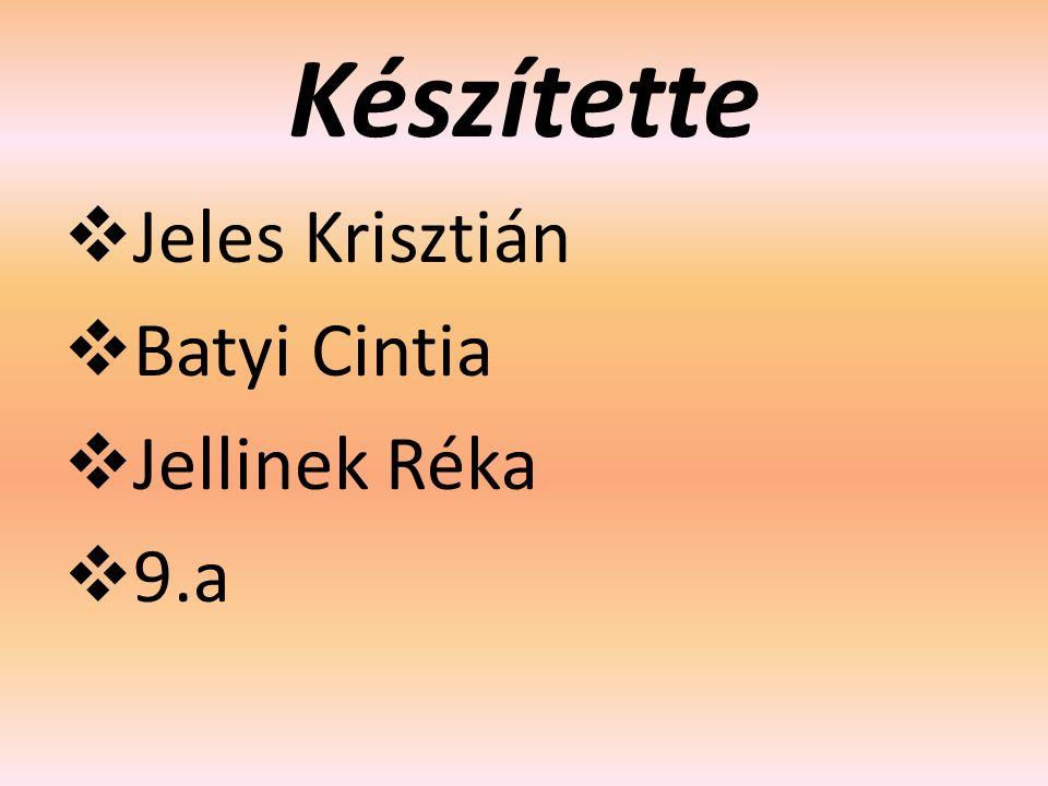 Készítette  Jeles Krisztián  Batyi Cintia  Jellinek Réka  9.a