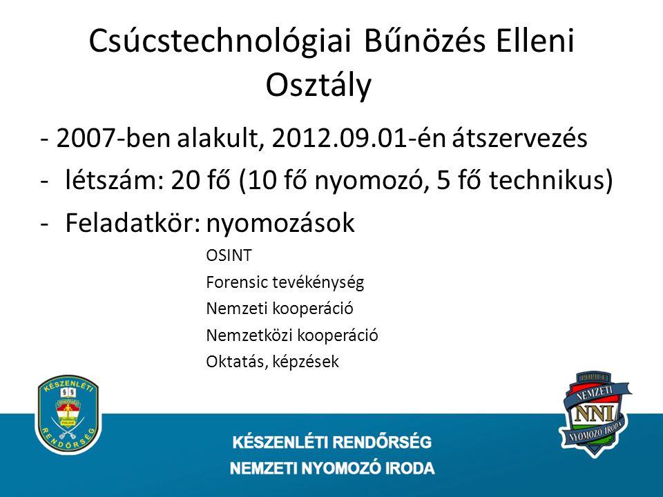 - 2007-ben alakult, 2012.09.01-én átszervezés -létszám: 20 fő (10 fő nyomozó, 5 fő technikus) -Feladatkör: nyomozások OSINT Forensic tevékénység Nemzeti kooperáció Nemzetközi kooperáció Oktatás, képzések