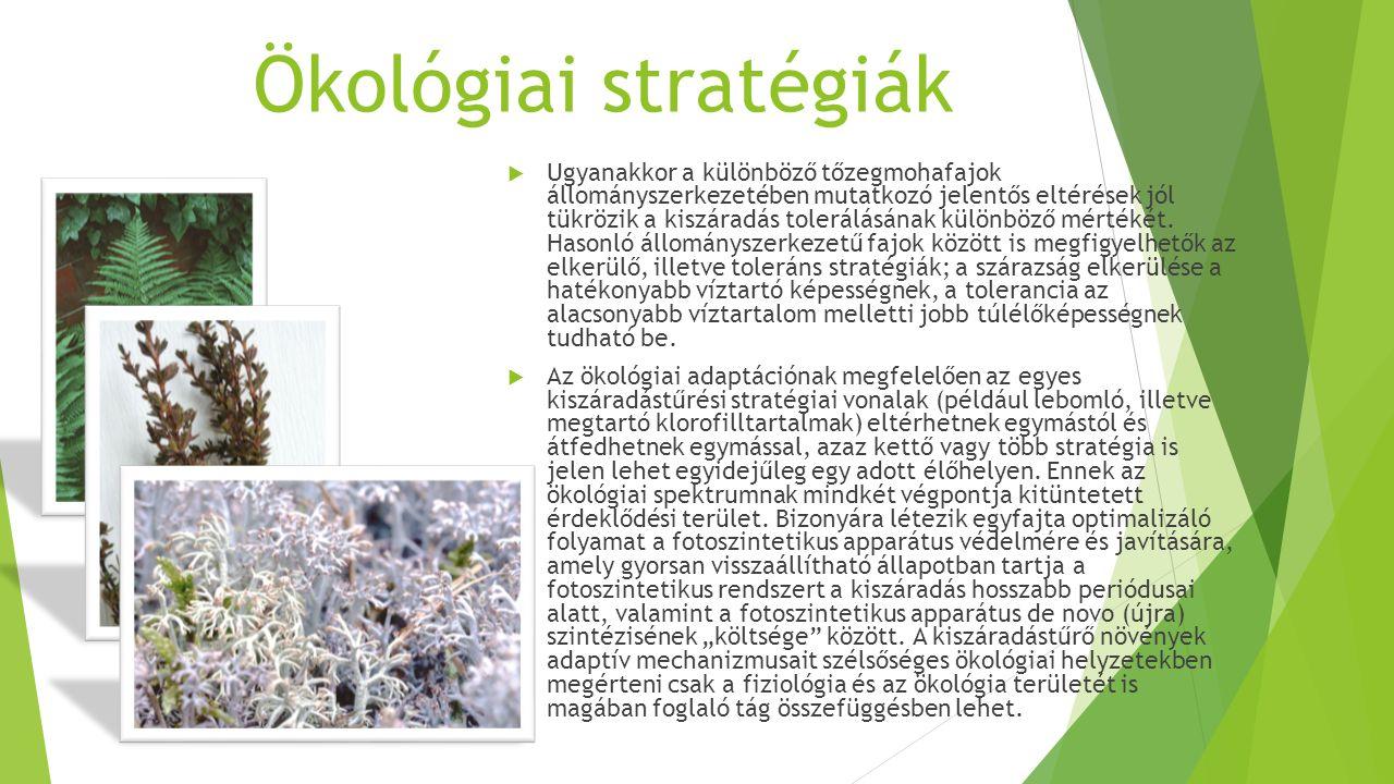 Ökológiai stratégiák  Ugyanakkor a különböző tőzegmohafajok állományszerkezetében mutatkozó jelentős eltérések jól tükrözik a kiszáradás tolerálásának különböző mértékét.