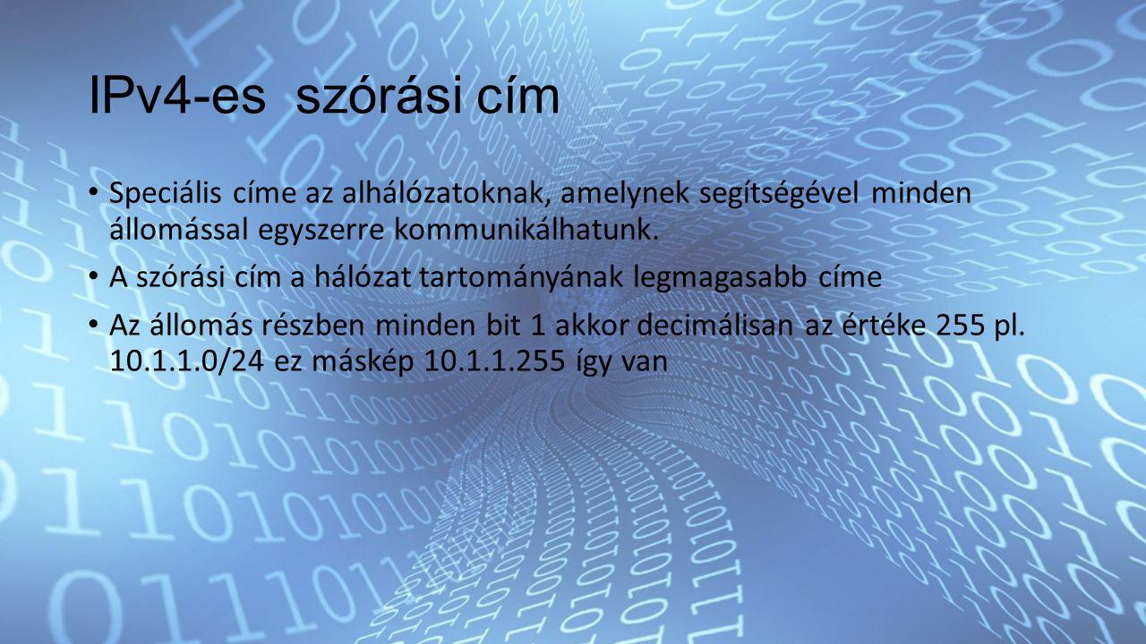 IPv4-es szórási cím Speciális címe az alhálózatoknak, amelynek segítségével minden állomással egyszerre kommunikálhatunk.