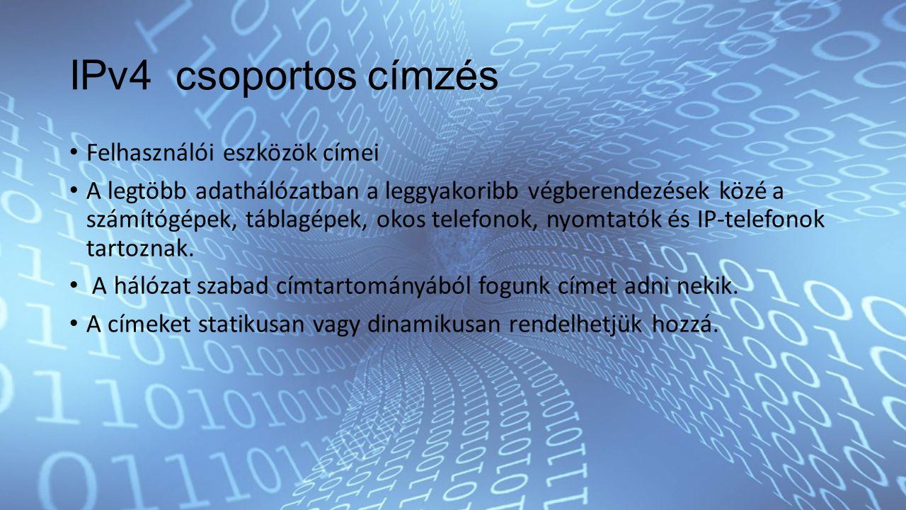 IPv4 csoportos címzés Felhasználói eszközök címei A legtöbb adathálózatban a leggyakoribb végberendezések közé a számítógépek, táblagépek, okos telefonok, nyomtatók és IP-telefonok tartoznak.