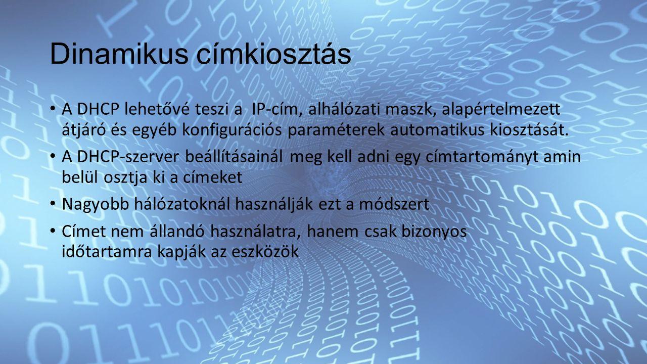 Dinamikus címkiosztás A DHCP lehetővé teszi a IP-cím, alhálózati maszk, alapértelmezett átjáró és egyéb konfigurációs paraméterek automatikus kiosztását.