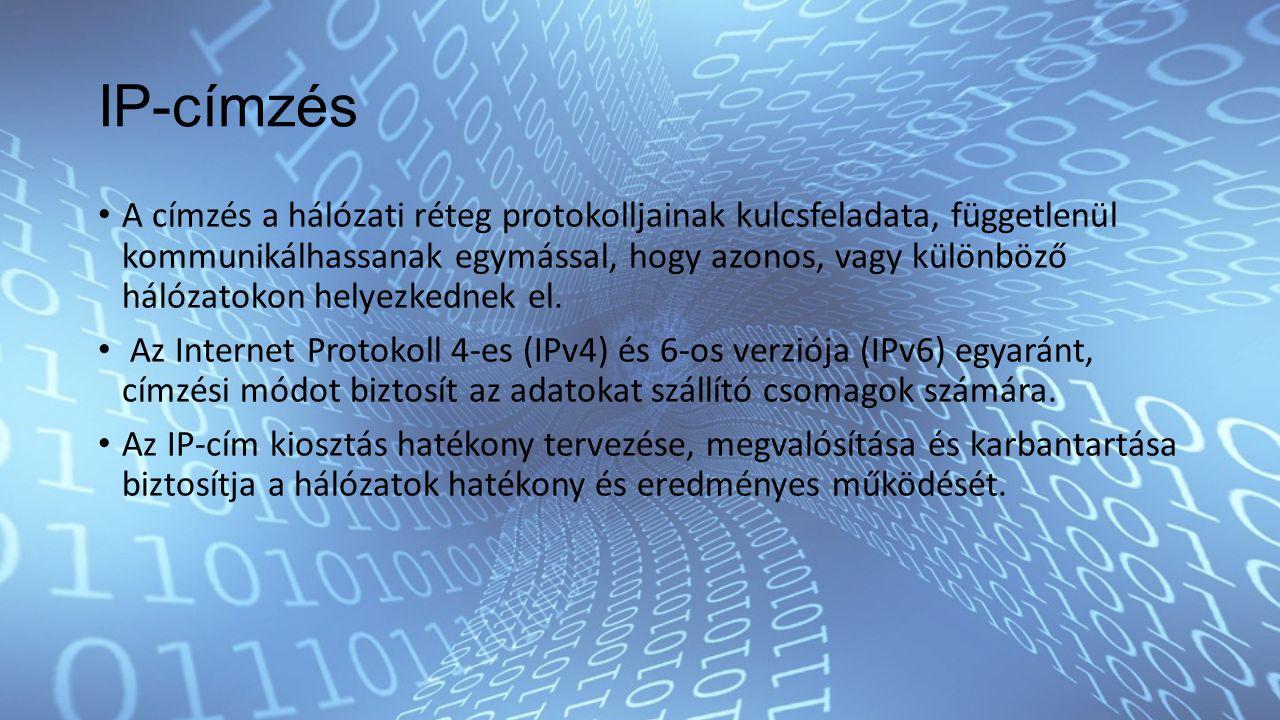 IP-címzés A címzés a hálózati réteg protokolljainak kulcsfeladata, függetlenül kommunikálhassanak egymással, hogy azonos, vagy különböző hálózatokon helyezkednek el.