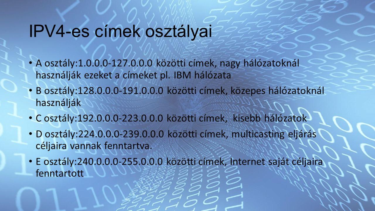 IPV4-es címek osztályai A osztály:1.0.0.0-127.0.0.0 közötti címek, nagy hálózatoknál használják ezeket a címeket pl.