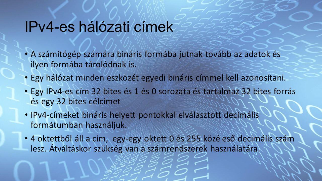 IPv4-es hálózati címek A számítógép számára bináris formába jutnak tovább az adatok és ilyen formába tárolódnak is.