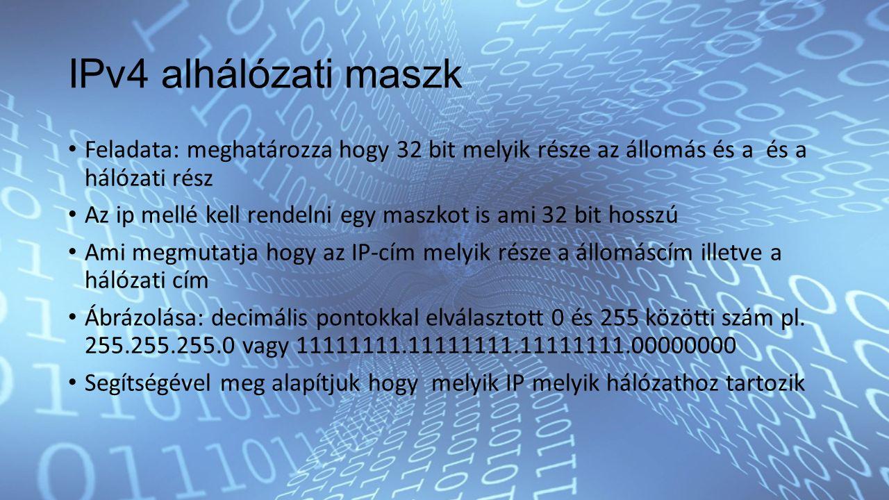 IPv4 alhálózati maszk Feladata: meghatározza hogy 32 bit melyik része az állomás és a és a hálózati rész Az ip mellé kell rendelni egy maszkot is ami 32 bit hosszú Ami megmutatja hogy az IP-cím melyik része a állomáscím illetve a hálózati cím Ábrázolása: decimális pontokkal elválasztott 0 és 255 közötti szám pl.