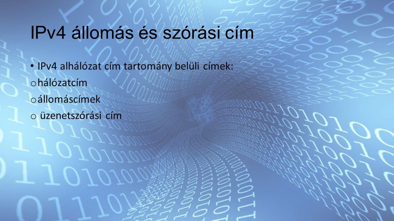 IPv4 állomás és szórási cím IPv4 alhálózat cím tartomány belüli címek: o hálózatcím o állomáscímek o üzenetszórási cím