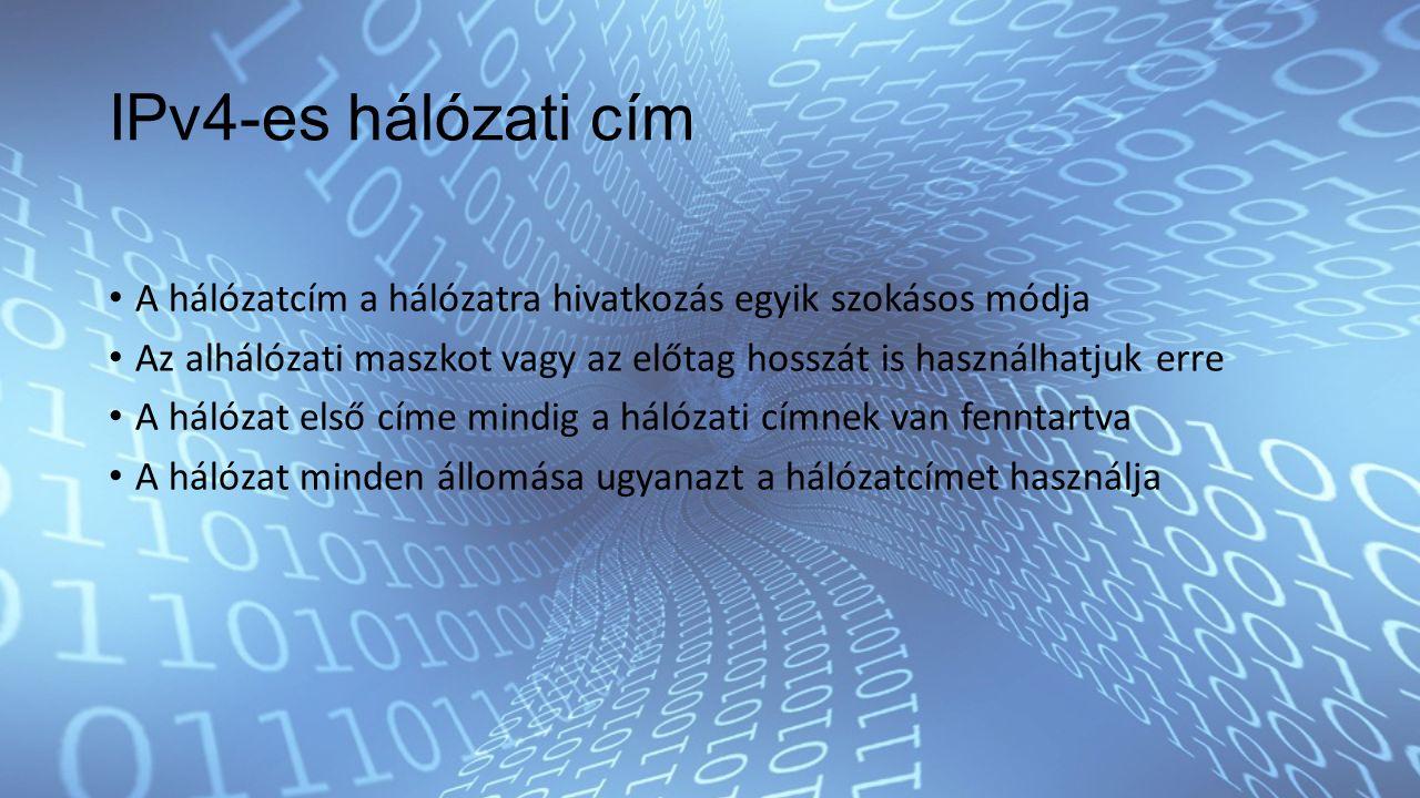IPv4-es hálózati cím A hálózatcím a hálózatra hivatkozás egyik szokásos módja Az alhálózati maszkot vagy az előtag hosszát is használhatjuk erre A hálózat első címe mindig a hálózati címnek van fenntartva A hálózat minden állomása ugyanazt a hálózatcímet használja