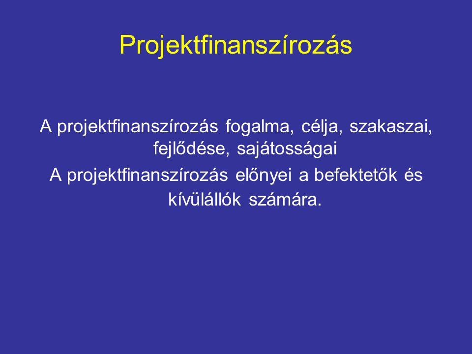 Projektfinanszírozás A projektfinanszírozás fogalma, célja, szakaszai, fejlődése, sajátosságai A projektfinanszírozás előnyei a befektetők és kívülállók számára.