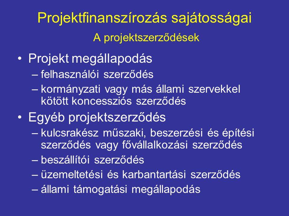 Projektfinanszírozás sajátosságai A projektszerződések Projekt megállapodás –felhasználói szerződés –kormányzati vagy más állami szervekkel kötött koncessziós szerződés Egyéb projektszerződés –kulcsrakész műszaki, beszerzési és építési szerződés vagy fővállalkozási szerződés –beszállítói szerződés –üzemeltetési és karbantartási szerződés –állami támogatási megállapodás