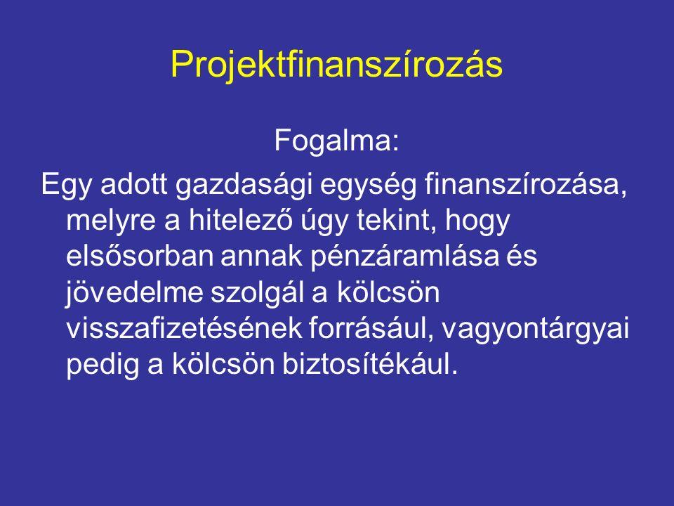 Projektfinanszírozás Fogalma: Egy adott gazdasági egység finanszírozása, melyre a hitelező úgy tekint, hogy elsősorban annak pénzáramlása és jövedelme szolgál a kölcsön visszafizetésének forrásául, vagyontárgyai pedig a kölcsön biztosítékául.